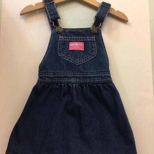 "【USED】""OSHKOSH"" OLD Design Pink tag Denim Dress (Made in U.S.A.)"
