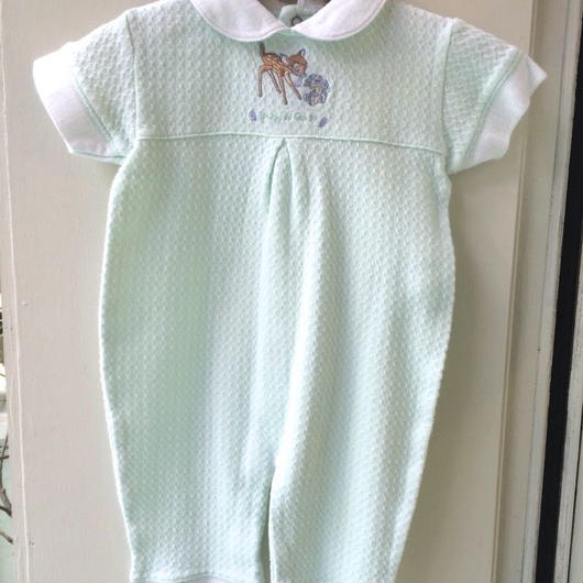 """【USED】""""Bambi"""" Mint green rompers"""