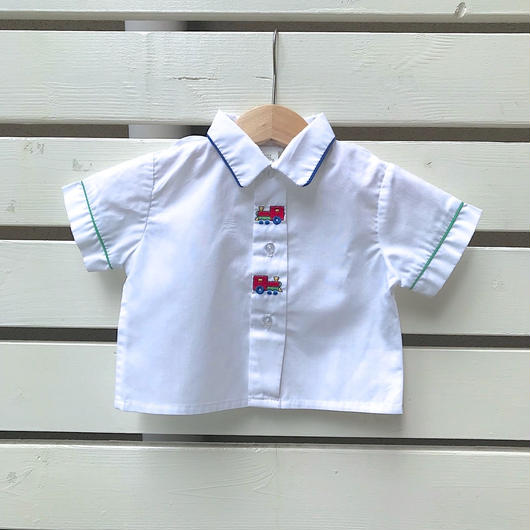 23.【USED】Train motif white Shirts