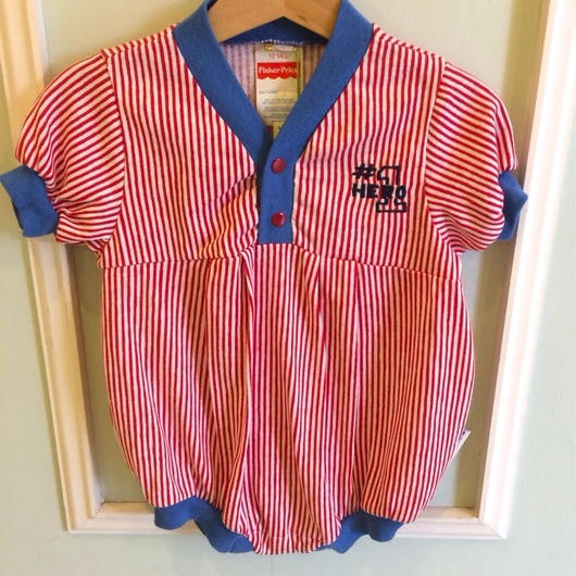 """【USED】""""Fisher-Price"""" Red stripe Rompers"""