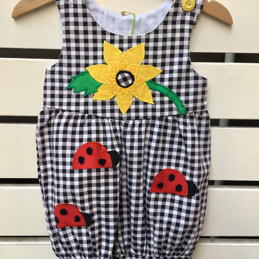 217.【USED】Sunflower & Ladybird motif gingham check rompers