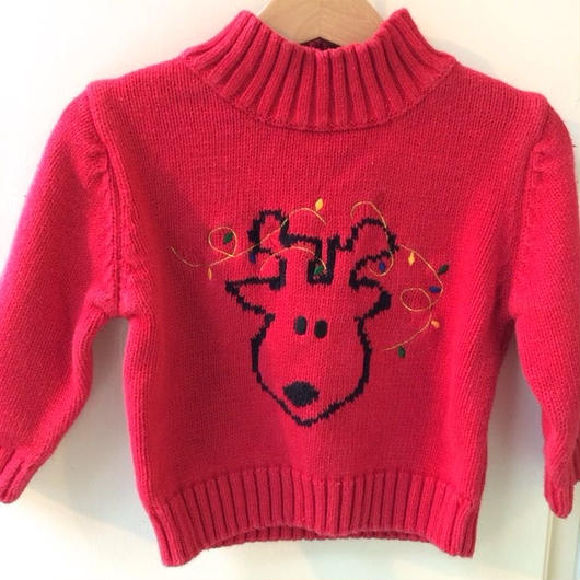 342.【USED】Reindeer motif Knit sweater
