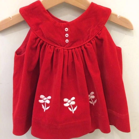 299.【USED】Vintage Flower motif Red dress