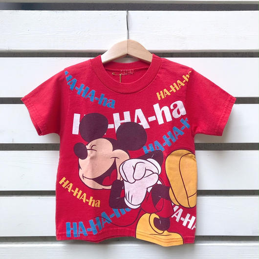 "3.【USED】""MICKEY MOUSE"" motif Red  T-shirts"