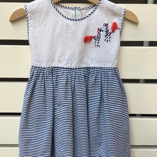 【USED】Zebra motif Navy stripe Dress