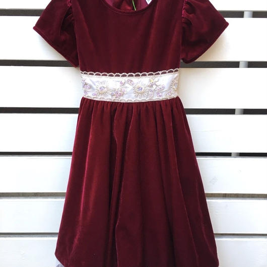 【USED】Red velour back ribbon Dress with Petticoat
