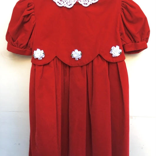 【USED】Rose motif Red velvet Dress ( made in U.S.A.)