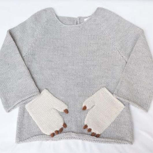 □【oeuf】Monster Sweater /light grey :4Y(110cm)