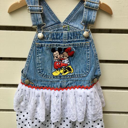 """【USED】"""" Disney Mickey & Minnie """" Denim Dress"""