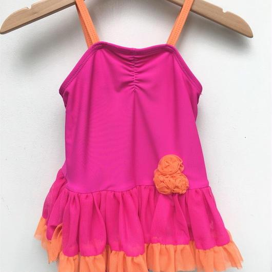 【USED】Passion pink & orange tulle swimwear