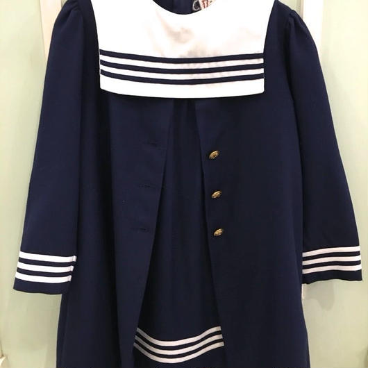 A.【USED】Vintage Sailor collar Dress & coat 2 piece