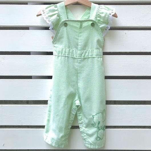 38.【USED】Green  Elephant motif  Frill Rompers