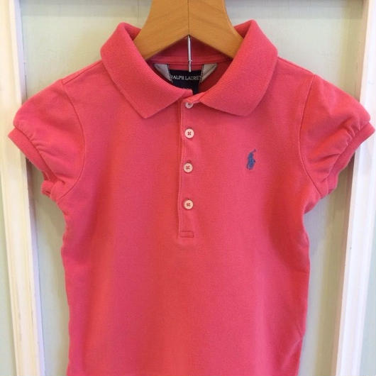 "162.【USED】""Ralph Lauren"" Puff sleeve Pink Polo"