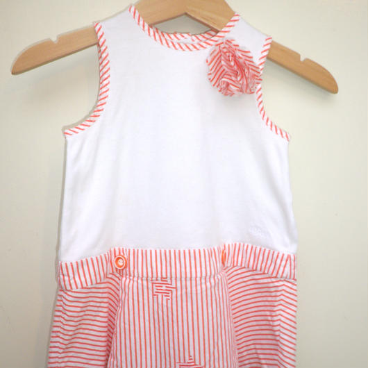 "171.【USED】""Baby Dior"" Orange Stripe Dress"