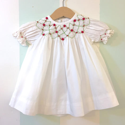 【USED】Rose embroidered white baby dress
