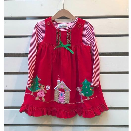 358.【USED】2piece set Christmas motif Red Dress