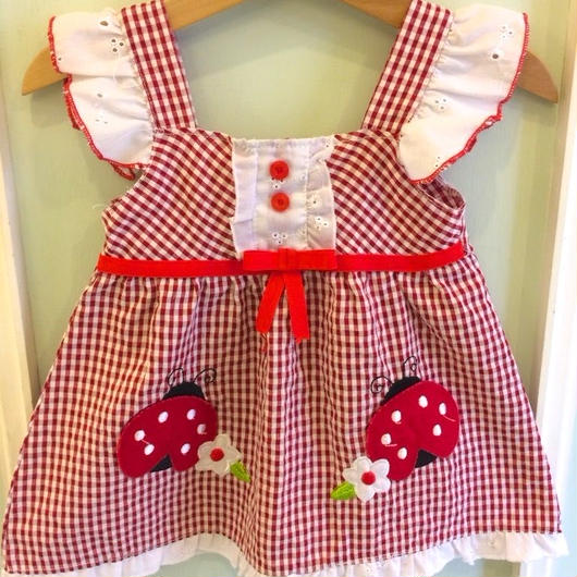【USED】Red gingham Ladybird Dress
