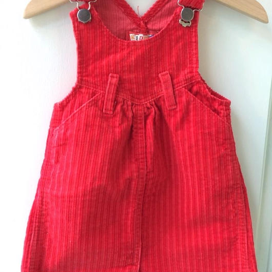 【USED】Red Corduroy Jumper skirt (Made in U.S.A.)