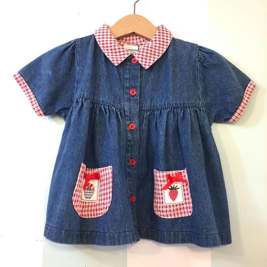 【USED】 Red checked pocket denim dres