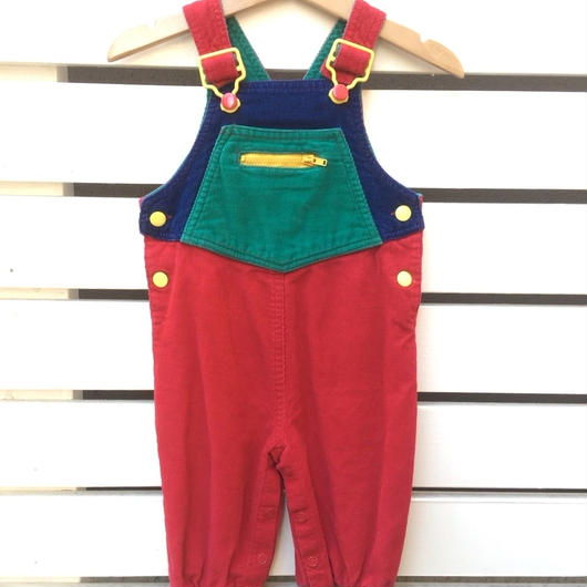 121.【USED】Crazy pattern corduroy overall