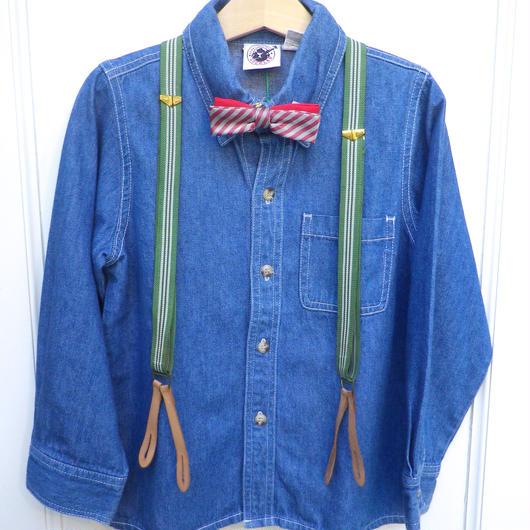 【USED】Vintage Green Stripe Suspender(Richer別冊「おでかけの本」掲載商品)
