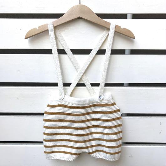 【oeuf】STRIPED SHORTS /  white×ochre stripes
