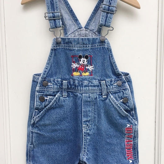 【USED】Mickey Mouse Denim Short Overall