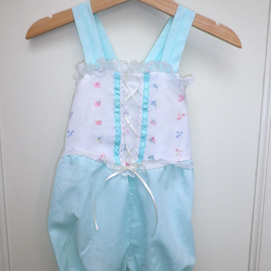 168.【USED】Mint Ribbon Rompers