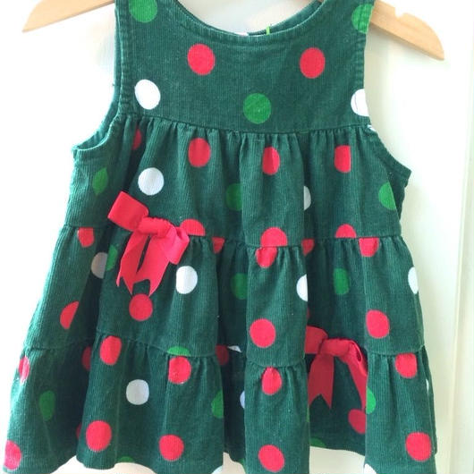 【USED】Dot print Green dress