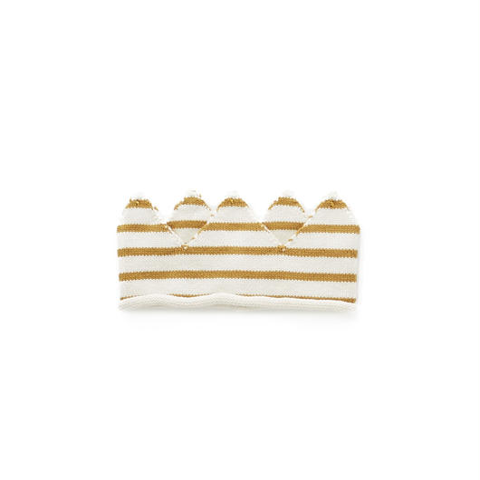 232.【ouef】CROWN / white×ochre stripes