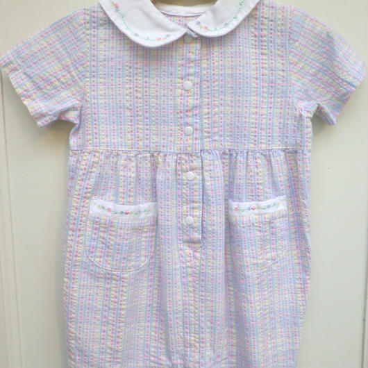 【USED】Pastel check Rompers