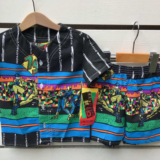 【Dead stock】Baseball print design shirts&pants set (Made in U.S.A.)