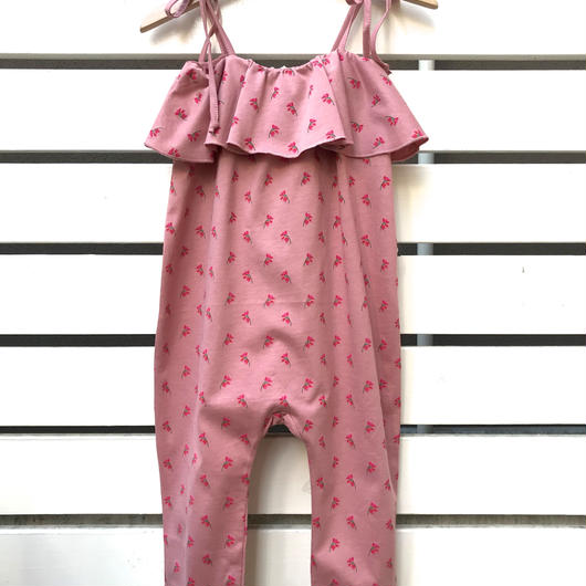 225.【oeuf】RUFFLE JERSEY OVERALL / rose flowers