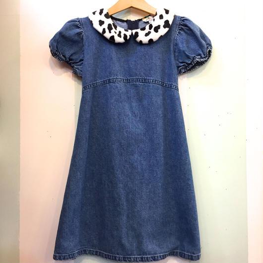 【USED】Dalmatian print collar Denim dress