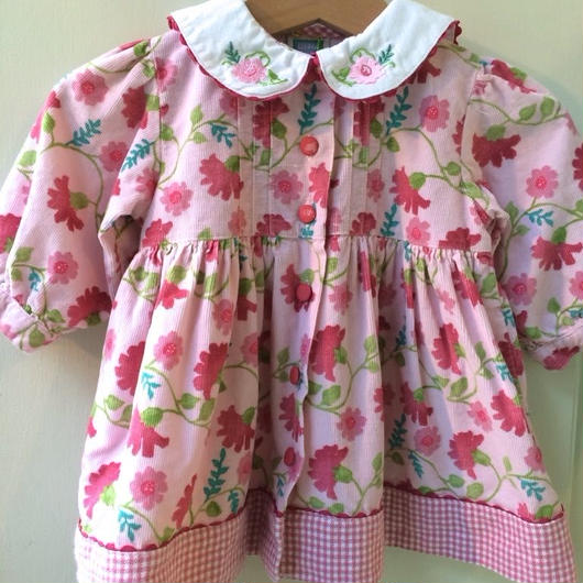【USED】Gingham Flower print Pink dress