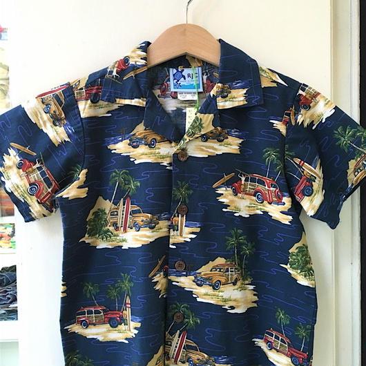 【USED】Surfer & Car motif Hawaiian Shirt (Made in HAWAII)