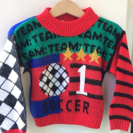 【USED】Soccer motif knit sweater (Made in U.S.A.)