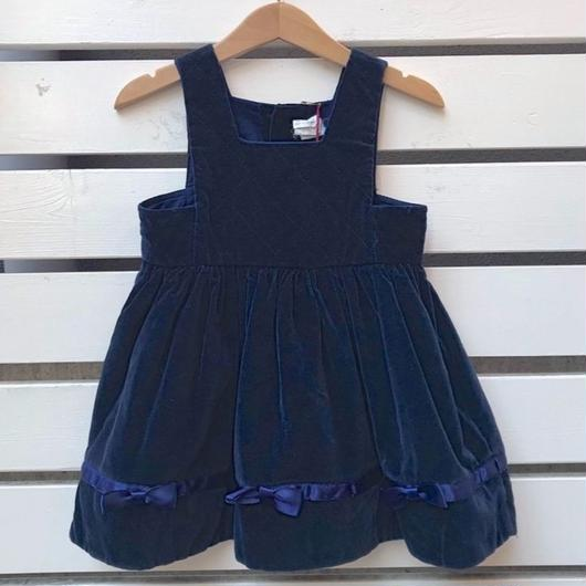 428.【USED】Navy Quilting Ribbon Dress