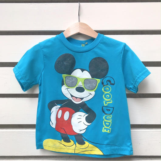 "2.【USED】""MICKEY MOUSE"" motif  Blue T-shirts"
