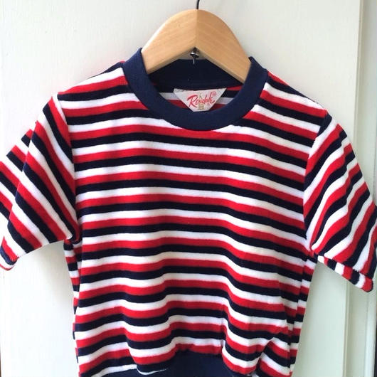 "【USED】Vintage ""Rendale"" Tricolore stripe Short sleeve pile sweater"