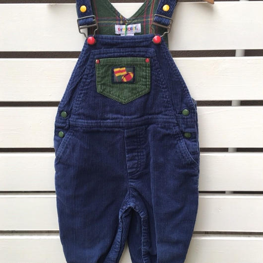 """264.【USED】""""GYMBOREE"""" Navy x Green corduroy overall"""