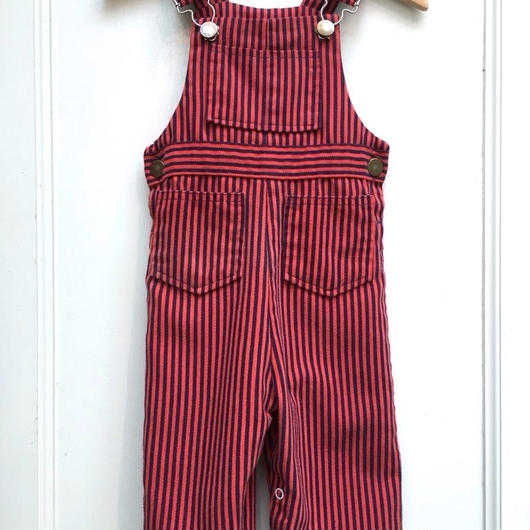 "【USED】""Health-tex"" Red x Navy stripe Overall (Made in U.S.A.)"