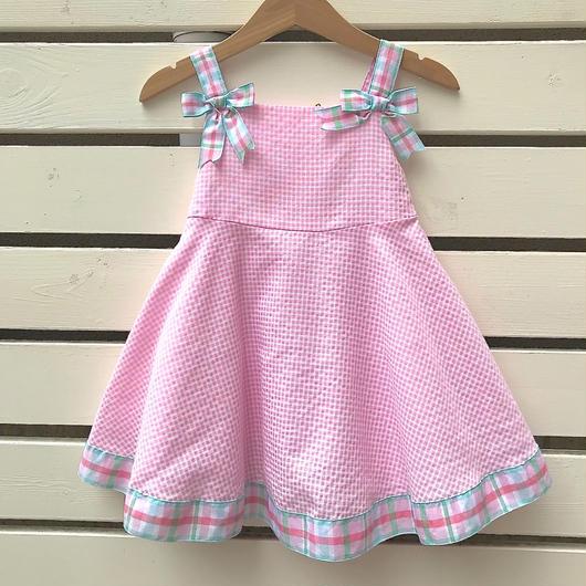 【USED】Pink × Check Ribbon Dress