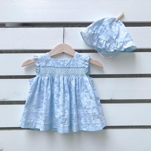 10.【USED】Pale blue design  Dress&Hat 2pc set