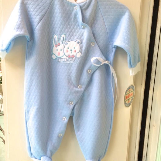 """【USED】""""Health-tex"""" Quilting Blue rompers(Made in U.S.A.)"""