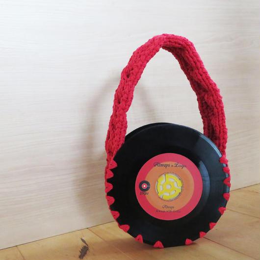 本物のレコードで出来たバッグ「bagu 」cotton strings red アップサイクル(UP cycle)