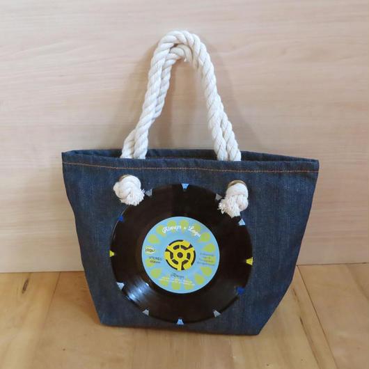本物のレコードを使ったバッグ「bagu」デニムトートS Blue