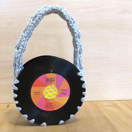 本物のレコードで出来たバッグ「bagu 」cotton strings gray アップサイクル(UP cycle)