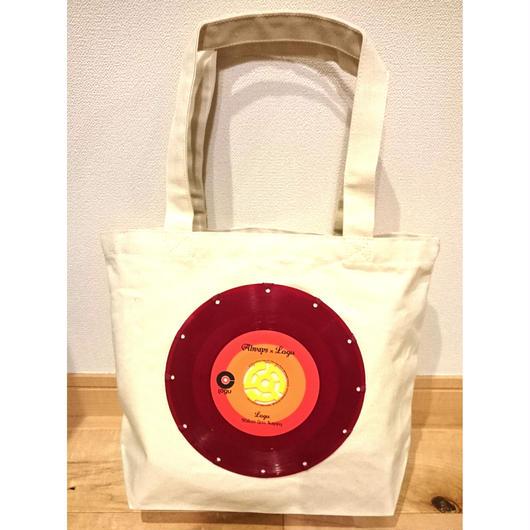 本物のレコードを使ったバッグ 「bagu」 canvas tote S  Natural Red Vinyl  2'50