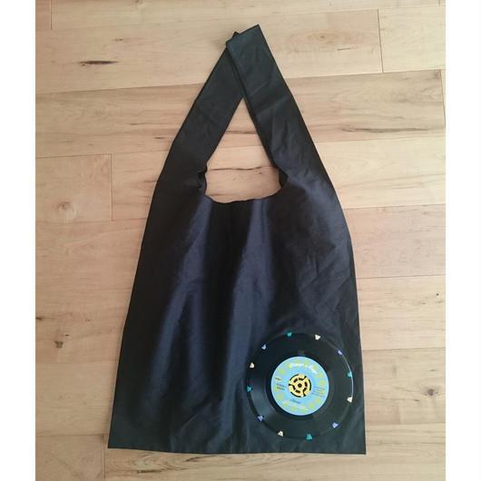 本物のレコードを使ったバッグ 「bagu」 cotton marche bag Black